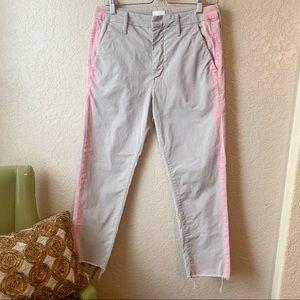Mother The Shaker Prep Fray khaki pink stripe pant